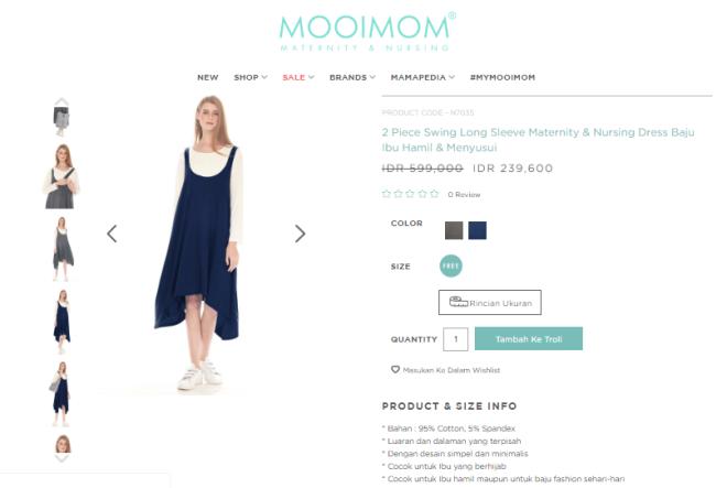 Review Mooimom Baju Hamil dan Menyusui: 2 Piece Swing Long Sleeve Maternity & Nursing Dress - ranselriri