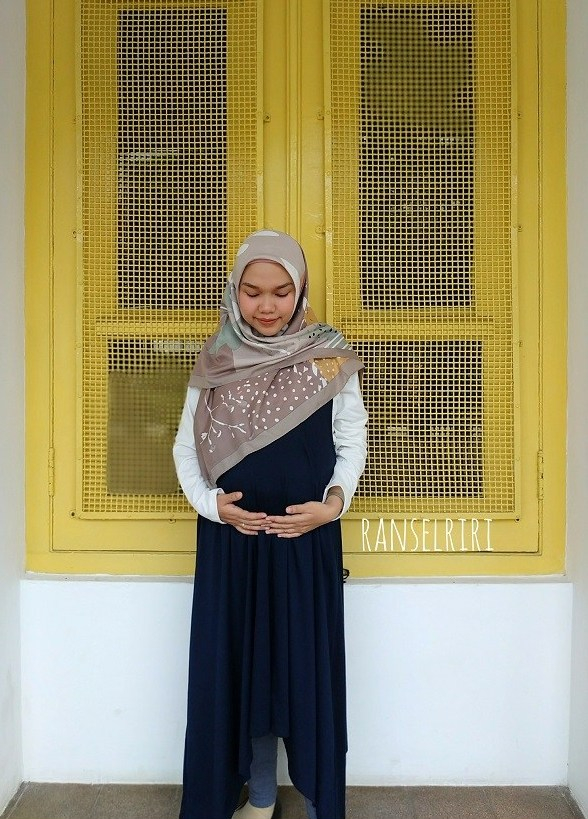 Review Mooimom Baju Hamil dan Menyusui: 2 Piece Swing Long Sleeve Maternity & Nursing Dress - ranselriri